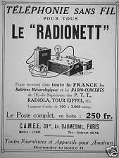 PUBLICITÉ TÉLÉPHONIE SANS FIL POUR TOUS LE RADIONETT POSTE COMPLET RADIOLA P.T.T