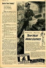 1946 Print Ad of Pepperell Twin Value Farm Work Clothes