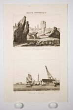 port de Lorient et Carnac, gravure XIX°, France Pittoresque, Morbihan