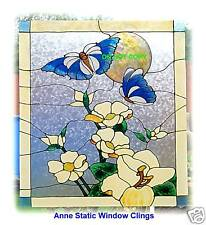 BUTTERFLY MAGNOLIA WINDOW CLING STAINED GLASS EFFECT SUN CATCHER DECORATION