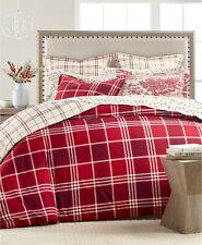 Martha Stewart FULL/QUEEN Duvet Cover Ticking Cotton Flannel Plaid RED E03116