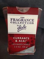 THE FRAGRANCE COLLECTION BY GLADE SOY BASED CANDLE CURRANTS & ACAI 2 OZ - NEW