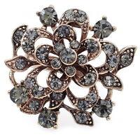 VR86 VF Gray Crystal Vintage Design GP Flower Ring Size 7,8,9