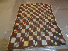 Vintage Handmade Hand Stitched Yellow Tan Bowtie Scrunch Geometric Quilt 60 x 48