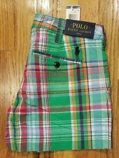 Polo Ralph Lauren Womens Pony Logo Plaid Chino Linen Blend Shorts Green/Red Sz 0
