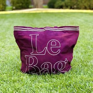 Vtg 70s 80s Le Bag Large Canvas French Tote, Thrashed, Maroon, Double Sided Logo