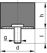 Gummi-Metall-Puffer Ausführung E 50x45mm M10