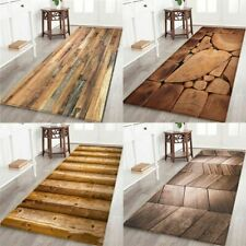 Floor Mat Bathroom Carpet Geometric Wood Print Toilet Bath Wrinkle Resistant Pad