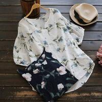 ZANZEA Femme Simple Floral Col V Manche Courte Tops Hauts Chemises T-shirts Plus