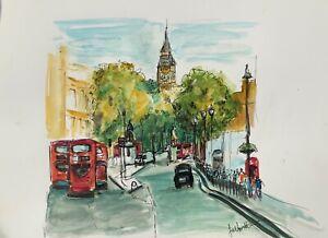 A4 print of Original artwork Ink and watercolour London landscape big ben rbuses
