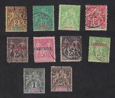 Bureaux Français de l'Etranger: lot de 10 timbres type Sage,oblitérés, cote 37€