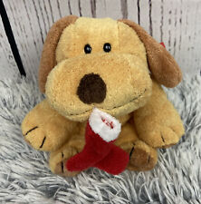 "Ty Pluffies GOODIES Puppy Dog Christmas Red Stocking 8"" Plush Stuffed Toy Doll"