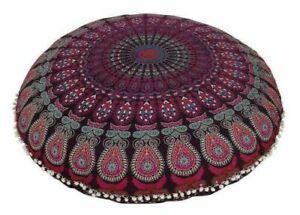 "Purple Peacock  100% Cotton Large Mandala Round Floor Cushion Cover 32"" Inch"