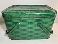Vtg Green Metal Picnic Style Basket With Handles