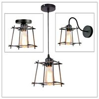Vintage Wire Frame Loft Ceiling Pendant Light  Industrial Metal Cage Lamp Shade