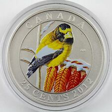 "2012 25-Cent Evening Grosbeak ""Birds of Canada"" Color Specimen Coin"