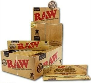 AUTHENTC Raw Classic King Size Slim Rolling Paper Full Box 50 pack, 32 Per Pack