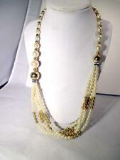 "25"" Faux Pearl  Multi Strand Necklace Gold Tone Accents & Lobster Clasp"