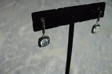 Blue Topaz Square Black Crystals Dangle Earrings Sterling Silver NEW