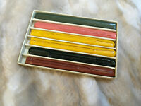 "Unused Vintage Box of DENNISONS Letter Wax Six 4"" Assorted Color Sticks"