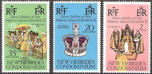 New Hebrides 1977 25th Anniv Coronation QE II Silver Jubilee MNH (SC# 233-235)