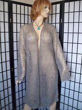 LAUREN RALPH LAUREN Sz 3X Gray Long Crocheted Cardigan Merino Wool Blend