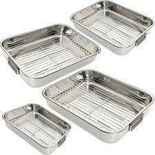 4pc Stainless Steel Roasting Trays Oven Pan Dish Baking Roaster Tray Grill Rack
