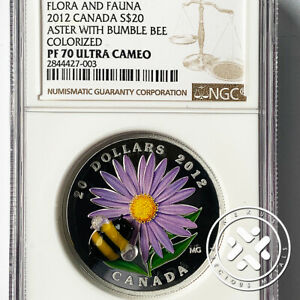 2012 Canada NGC PF 70 UC $20 Aster with Glass Bumble Bee 1 oz Silver Coin