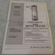 Vintage SEARS Power Miser 60 Gas Water Heater Owners Manual