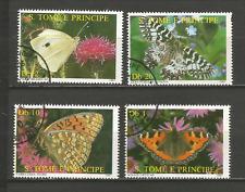 1987 papillon Sao Tomé-et-Principe série 4 timbres anciens oblitérés /T4372