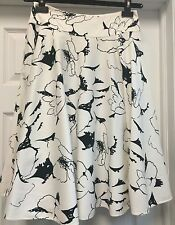 Ralph Lauren Black Label Stretch White Black Knee-lenght Full Skirt SZ 2 S $690