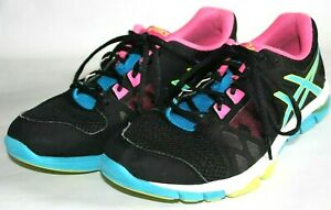 ASICS Training Gel Craze Running Shoes, Sneakers, Black w/ Blue & Pink, Womens 9