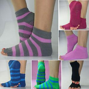 Yoga Dance Sports Exercise Non Slip Massage Fitness Socks Cotton 5 Toes Open
