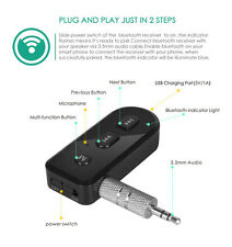 3.5mm Portable Audio Music Adapter Mini Bluetooth 4.1 Receiver USB Charger AUX