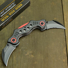 """8 3/4"""" Spring Assisted Open Twin Dual Blade Tactical Hook Claw Folding Knife New"""