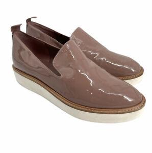 Vince Sanders Patent Leather Nude Rose Slip On Platform Sneakers size 7 $275