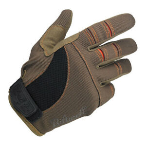 Biltwell Moto Gloves, Motorcycle Gloves, Braun/Orange XL