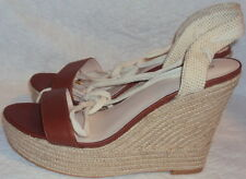 WEDGE HEEL SANDAL, LADIES BROWN LEATHER SANDAL, SIZE  10 B