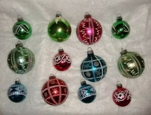 Glass Ornaments Red Blue Green Mixed Vintage Christmas   FAST shipping