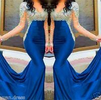 Sexy Long Formal Evening Dress Crystal Mermaid Celebrity Pageant Party Prom Gown