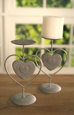 Set of 2 Candle Holders Country Style Tin Heart Home Decor Gift 20cms NEW