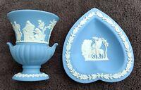 Jasperware Wedgwood Blue Trinket or Pin Dish + Urn. Lot of (2) Vintage 1950s