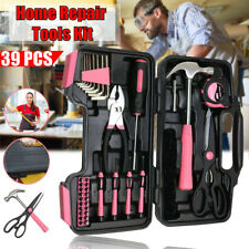 39pcs For Hand Tool Kit Pink Case Household Set Box Ladies Women Home Accessory