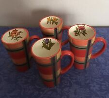 Certified International Coffee Mugs Set Of 4 - Flower inside Striped Pattern