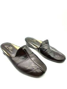 Daniel Green Womens Leather Round Toe Pull On Slippers Black Size 7
