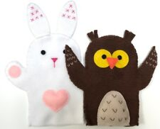 Rabbit & Owl - 2 GLOVE PUPPETS - soft fleece - hand sewn - unique