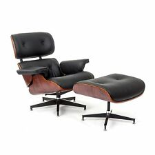 Eames Style Plywood Lounge Chair & Ottoman 100% Genuine Leather Black Rosewood