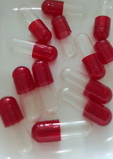 50 EMPTY SIZE 1 CAPSULES GELATIN SELF FILL PURE GEL GAPS CLEAR AND RED LIGHT