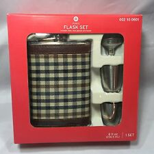 4 Piece Flask Gift Set - 8 oz Plaid Stainless Steel Shot Glasses Funnel Flask