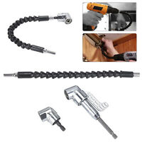 """105 Degree Right Angle 1/4"""" Head Screw Driver Flexible Angle Extension Bit Kit"""